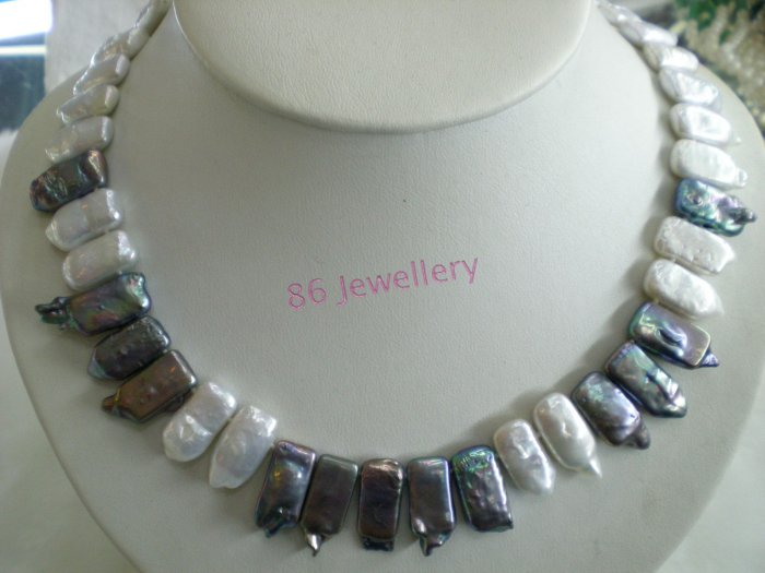 Blue �chip Natural  biwa pearl necklace ID 0805-1