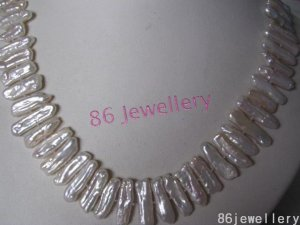 natural Fresh Water biwa pearl necklace-white ID0805-2