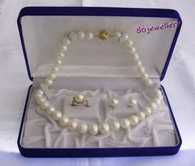 A set 10MM white  pearl necklace & earring &ring ID 0805-12