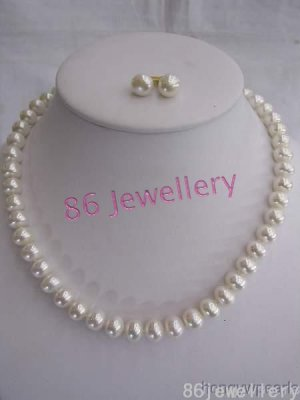 nature 12mm  white fresh water pearls necklace ID 0805-14
