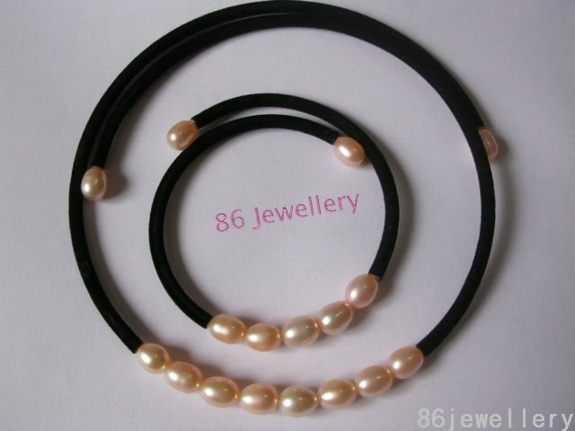 A set 9MM nature white fw pearl necklace & bracelet ID 0805-15