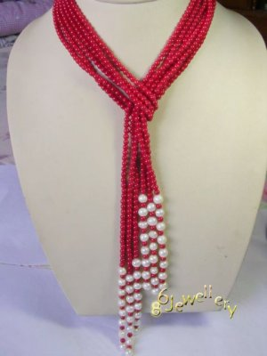 """45"""" 3-strands natural red coral necklace ID0805-19"""
