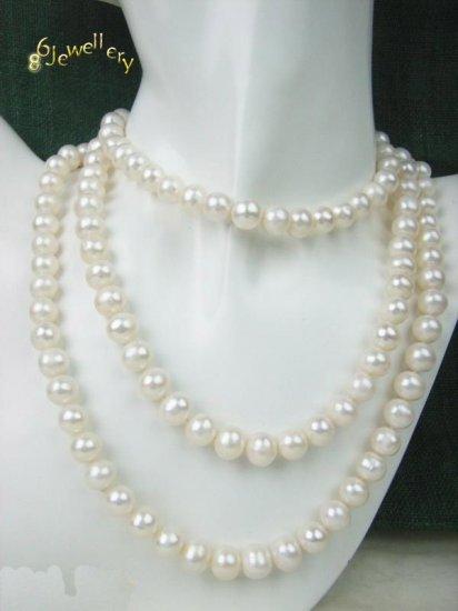 """Junoesque 36"""" natuarl freshwater white necklace ID 0805-21"""