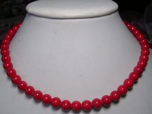 natuarl 8mm red coral necklace ID 0805-23