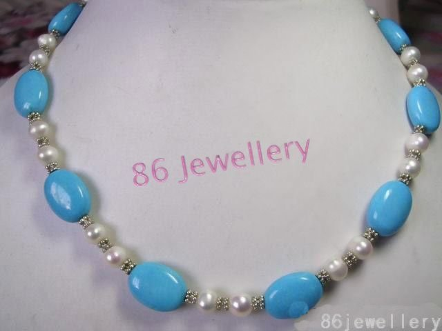 nature turquoise pearl necklace ID0805-26