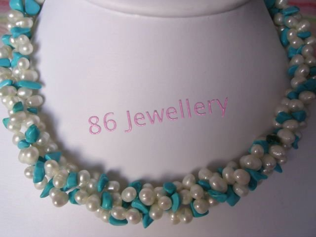tibet 3-strands  nature Pearl & turquoise necklace ID0805-28