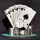 Poker Hand Desk Clock with Chips Sanis Executive Toys New