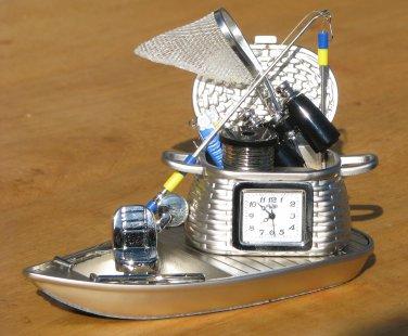 Sanis FISHING BOAT Desk Clock Executive Toy