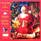 SunsOut CHECKING IT TWICE 1500 pc Jigsaw Puzzle Santa Claus Christmas New