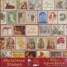 SunsOut CHRISTMAS STAMPS 550 pc Jigsaw Puzzle Collage Punch Studio