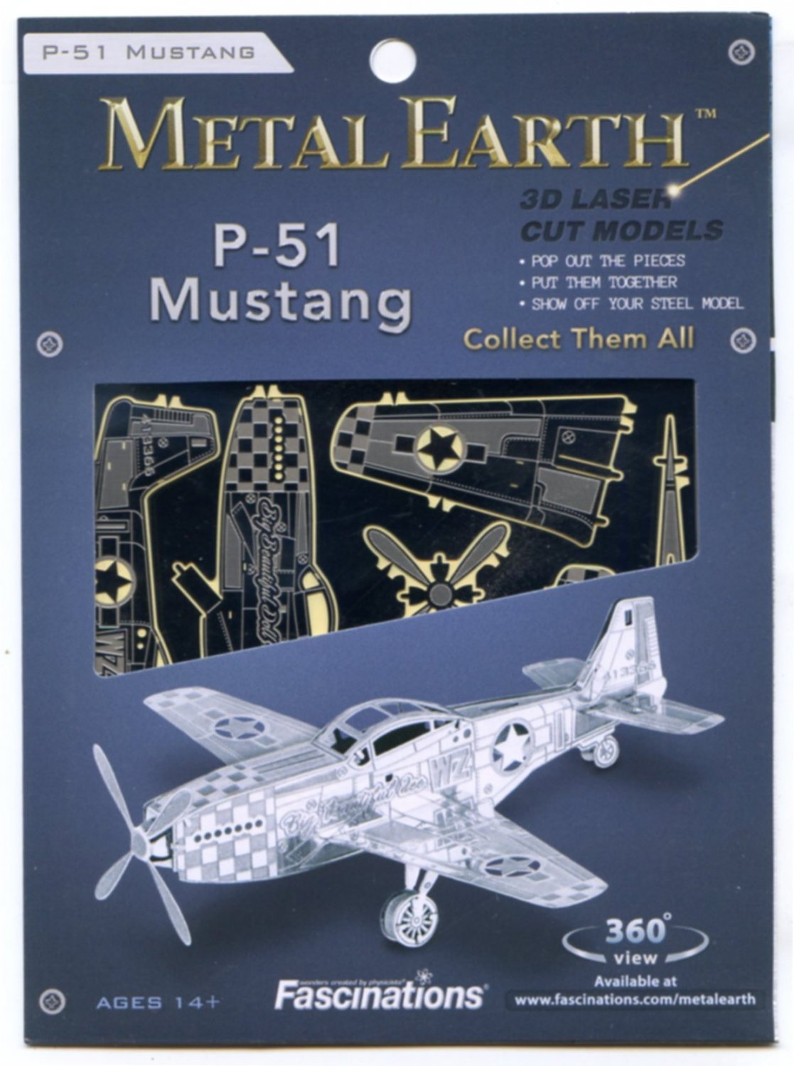 Metal Earth P-51 MUSTANG WWII Fighter Plane 3D Puzzle Micro Model