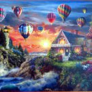 SunsOut Nicky Boehme Balloons Over Sunset 1000 pc Jigsaw Puzzle Lighthouse Cottage