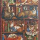 Cobble Hill Feline Bookcase 2000 pc Jigsaw Puzzle Janet Kruskamp Books Cats