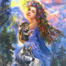 Step Puzzle Girl With Wolf And Cub 1500 pc Jigsaw Puzzle