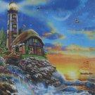 STEP Puzzle Lighthouse 1000 pc Jigsaw Puzzle Sunrise Coastline Rainbow
