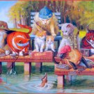SunsOut Fishing on the Dock 300 pc Jigsaw Puzzle Bryan Moon Cats Kittens Cat Kitten