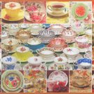 Cobble Hill China Collage 2000 pc Jigsaw Puzzle Teacups Teapots
