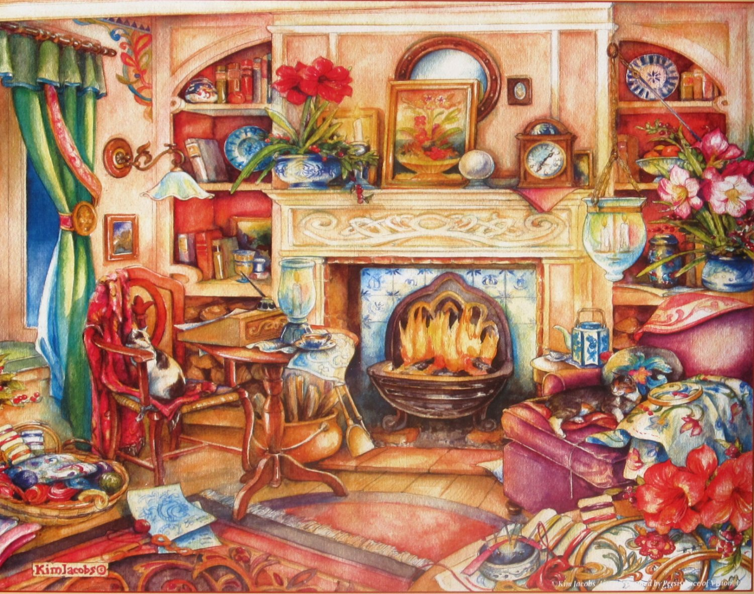 SunsOut Kim Jacobs Fireside Embroidery 1000 pc Jigsaw Puzzle XL Pieces