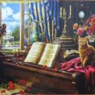 SunsOut Grand Piano Cat 1000 pc Jigsaw Puzzle Roses