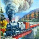 Castorland Train Crossing 500 pc Jigsaw Puzzle Bridge Team Locomotive