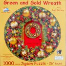 SunsOut Lori Schory Green and Gold Wreath 1000 pc Round Jigsaw Puzzle Christmas Decorations
