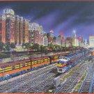SunsOut Robert West Chicago Nights 1000 pc Panorama Jigsaw Puzzle Railroad Yard Trains Skyline
