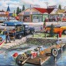 SunsOut Ken Zylla Pelican Lake 300 pc Jigsaw Puzzle Nostalgia Boats Dock 1950s Town