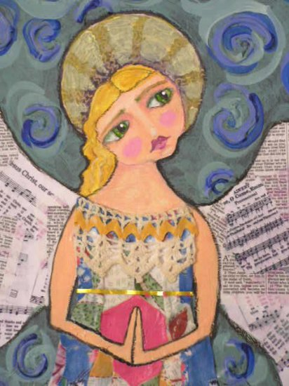 Sweet Quilt Angel Comforting Primative Folk Art