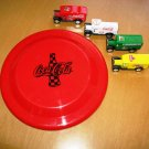 Coca Cola Coke Toys 4 Toy Trucks and a Coke advertising Frisbee