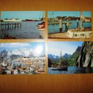 4 Boat Ship Sailboat Postcards 2 from Mississippi and 2 from Norway