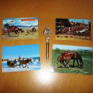 Horse Bronco Rodeo Cowboy Metal Letter Opener Grand Canyon Park with 4 Horse Rodeo Postcards