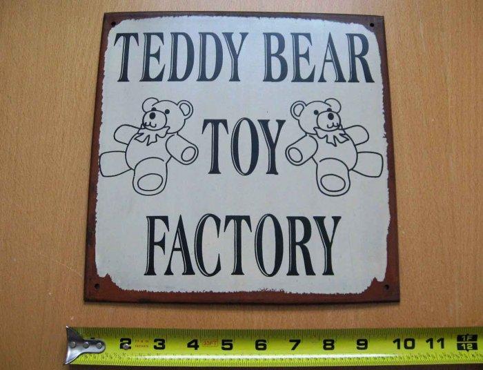 Teddy Bear Toy Factory stuffed bear collectors metal tin sign
