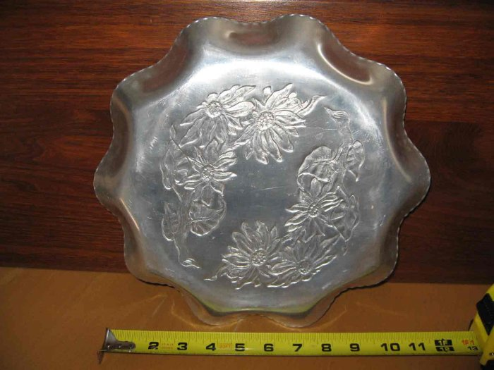 Old Metal Tray Hand Wrought Aluminum 11 Inch With Flowers