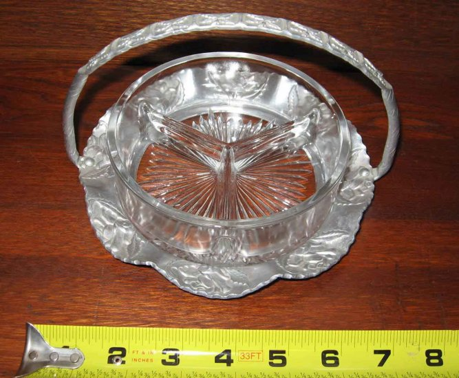 Old Hand Hammered  Wrought Metal Aluminum Basket with Glass Divided Candy or Relish Dish
