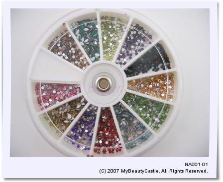 Nail arts 2mm Rhinestone 12 colors (1200 pieces) FREE SHIPPING [NA001]