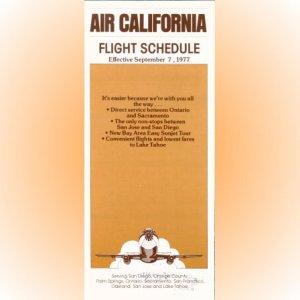 Air California system timetable 9/7/77 ($)