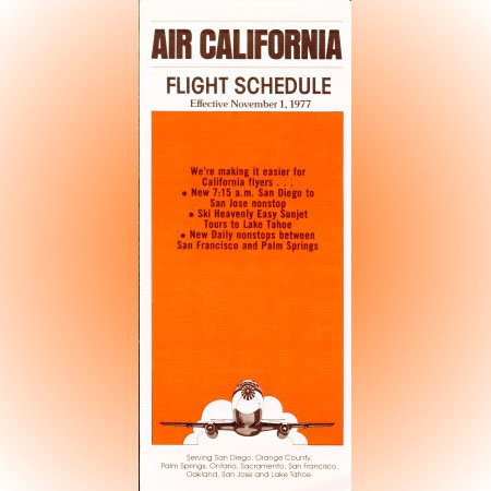 Air California system timetable 11/1/77 ($)