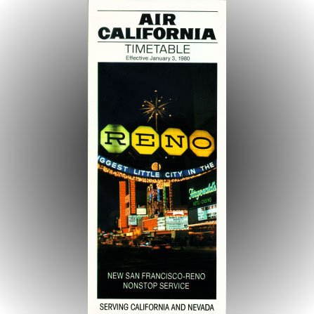 Air California system timetable 1/3/80 ($)