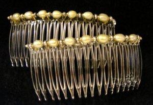 Golden Pearls Hair Comb Combs Pair - UnuauslJewels