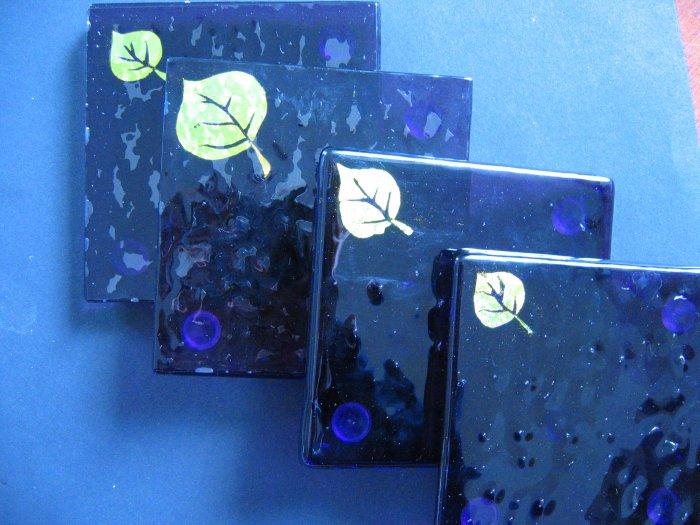 Colorado Morning: Dichroic fused glass coaster set of 4, custom order option