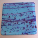 Pink Streamers on Blue: Set of 4 Fused Glass Coasters, Custom Order Option