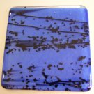 Black Speckles on Sky Blue: Set of 4 Fused Glass Coasters, Custom Order Option