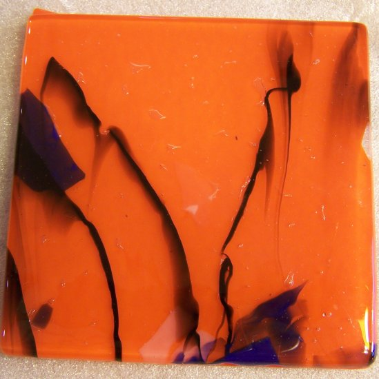 Streaks on Orange: Set of 4 Fused Glass Coasters, Custom Order Option