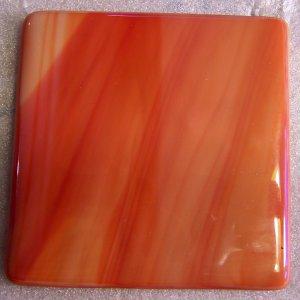 Red Sunrise: Set of 4 Fused Glass Coasters, Custom Order Option