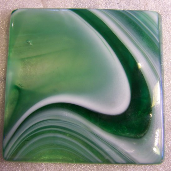 Green and White Swirls: Set of 4 Fused Glass Coasters, Custom Order Option