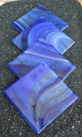 Oberlin: Fused glass coasters set of 4 by SunriseGlassArt