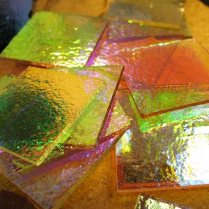1/2 lbs. Dichroic Scrap Glass, COE 90, Dichro on Thin Clear Fusible
