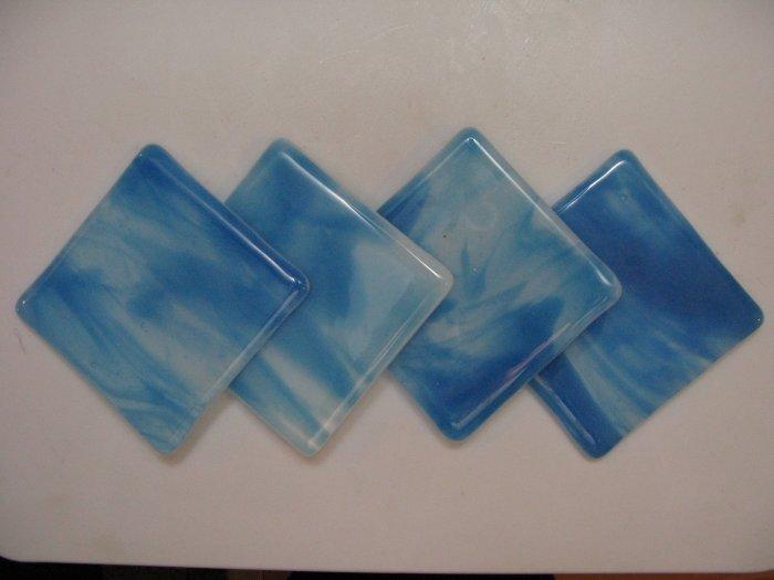 Sky: Fused glass coasters set of 4 by SunriseGlassArt