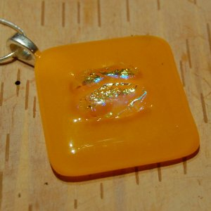 Sun Burst: Dichroic Fused glass pendant, sterling silver large bail