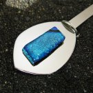 Moon Spots: Dichroic Fused Glass Letter Opener, sterling silver bail